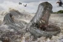Purussaurus brasiliensis mordia mais forte do que o feroz Tiranossauro rex